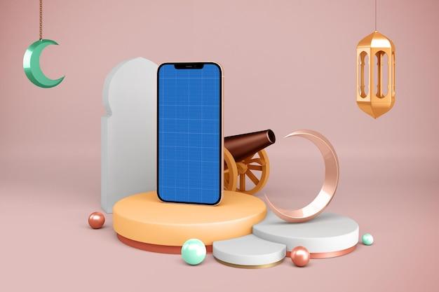 Smartphone-mockup met ramadan-decoratie