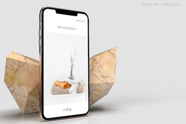 Smartphone-mockup met samenvattingen marmeren rotsen