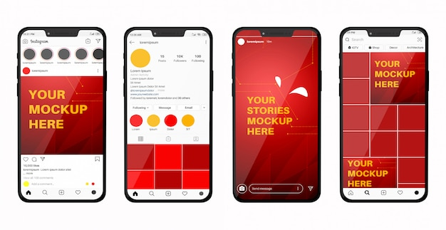 Smartphone-mockup met social media-feed en verhalen