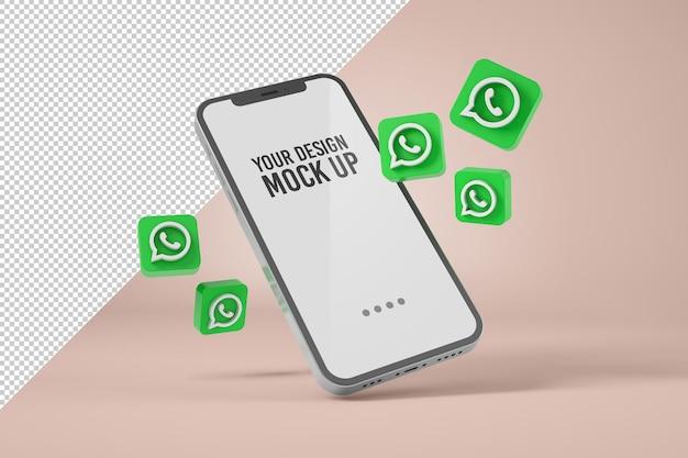 Smartphone-mockup met whatsapp-pictogrammen Premium Psd