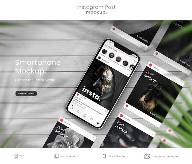 Smartphone-mockup om instagram-berichten weer te geven