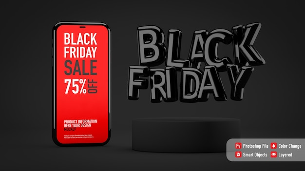 Smartphone-mockup voor black friday naast ballonnenbrieven
