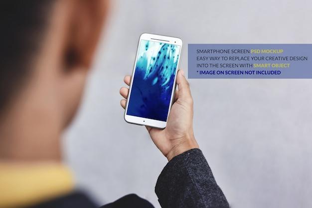 Smartphone-mockupafbeelding. mobiele schermsjabloon