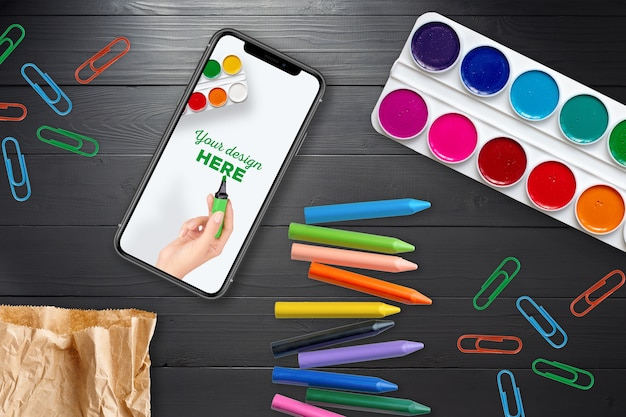 Smartphone-model en schoolbenodigdheden