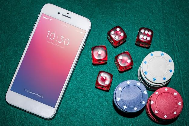 Smartphone-model met casinoconcept