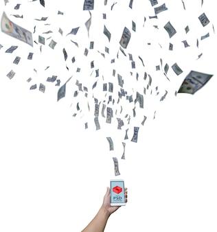 Smartphone-model met dollarrekeningen die naar het vliegen