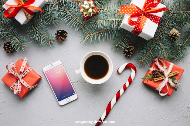 Smartphone-model met kerstmisontwerp