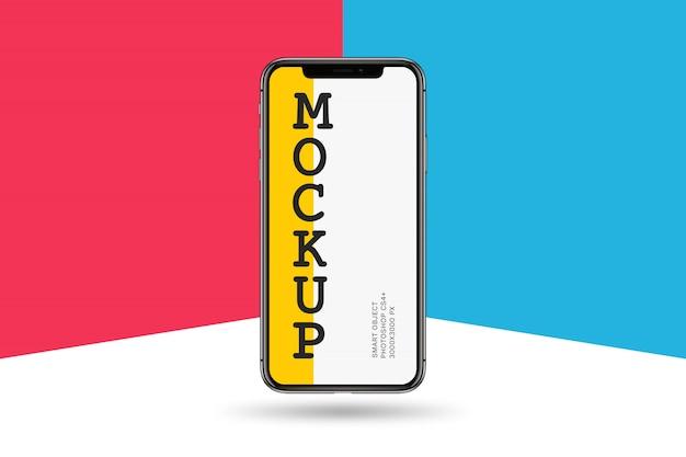 Smartphone-model op kleurrijke achtergrond