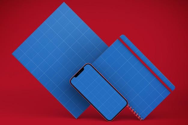 Smartphone, notebook en pagina mockup