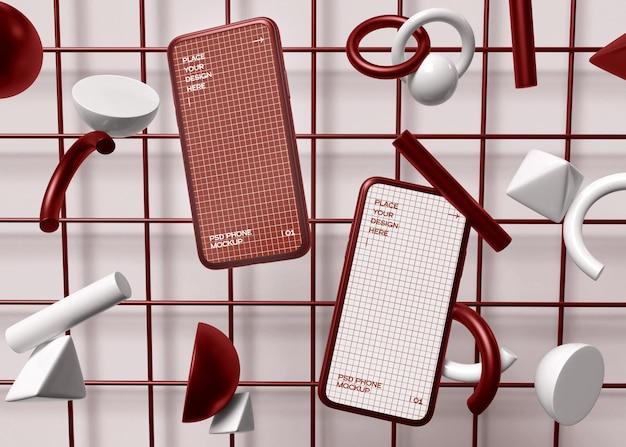 Smartphone op geometrisch model als achtergrond