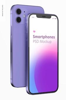 Smartphone paarse versie mockup, voor- en achteraanzicht