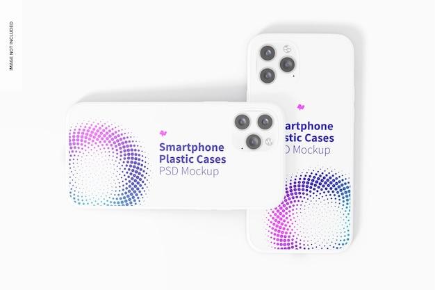 Smartphone plastic hoesjes mockup, bovenaanzicht