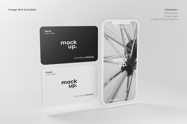 Smartphone realista con maqueta de tarjeta de visita
