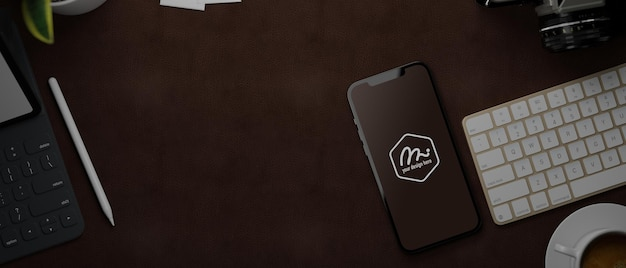 Smartphone de renderizado 3d con pantalla de maqueta