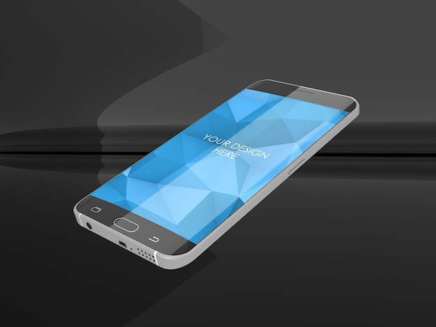 Smartphone-schermmodel in reflecterende zwarte studio