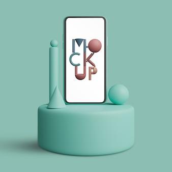 Smartphone-schermmodel op podium