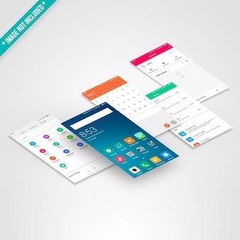 Smartphone-schermmodel van vijf