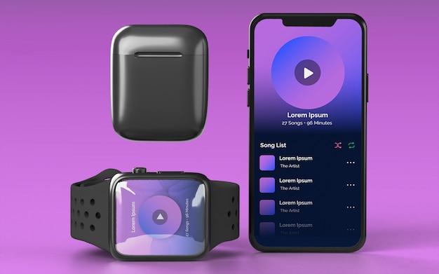 Smartphone smartwatch y maqueta de dispositivo earbud case