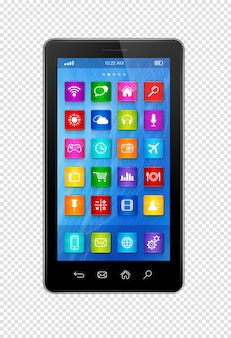 Smartphone touchscreen hd - interfaz de iconos de aplicaciones