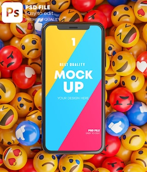 Smartphone tussen een stel emoji-emoticons in 3d-rendering mockup