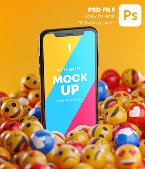 Smartphone tussen een stel emoji-emoticons in 3d-rendering mockup Premium Psd