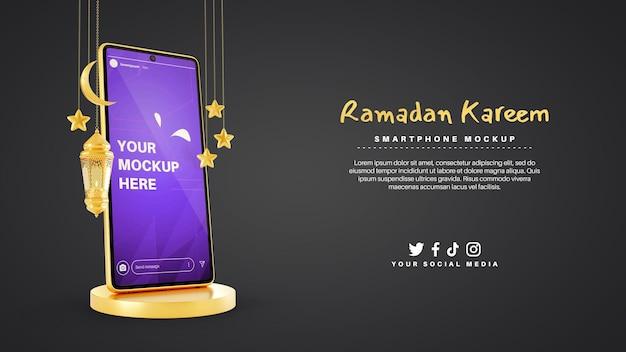 Smartphone voor ramadan kareem moslim