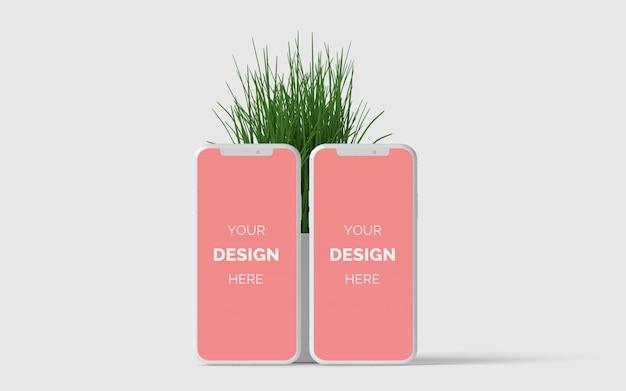 Smartphonemodel met gras premium psd
