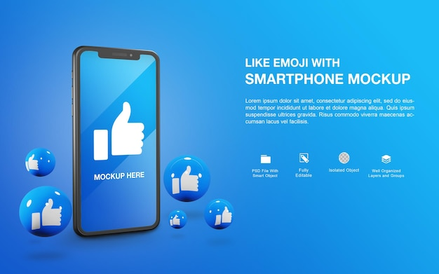 Smartphonemodel met het ontwerp van de weergave van like emoji-bal