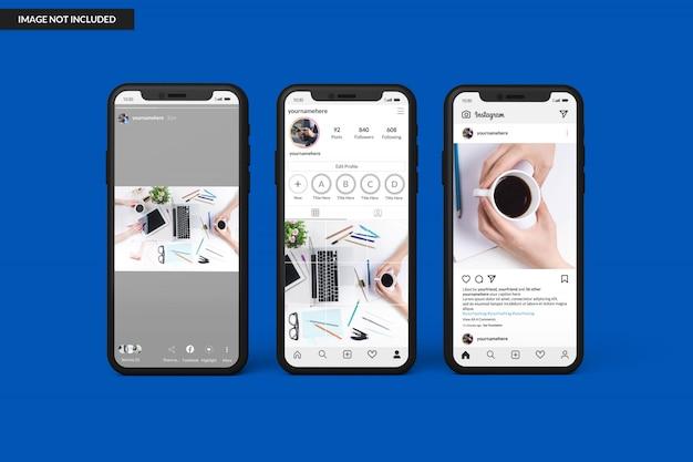 Smartphonemodellen om instagram-postsjabloon weer te geven
