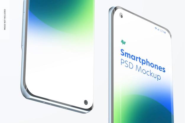 Smartphones mockups op wit