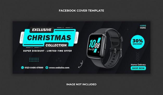 Smartwatch-verkoop facebook-omslag en websjabloon voor spandoek