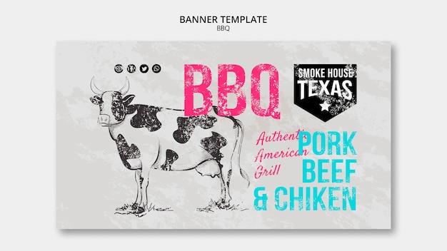 Smoke house texas bbq banner plantilla