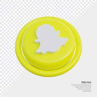 Snapchat isometrische 3d-stijl logo concept icoon in ronde geïsoleerd