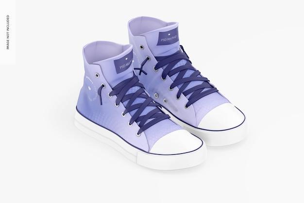 Sneakers mockup, isometrische linkeraanzicht