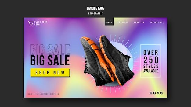 Sneakers verkoop bestemmingspagina sjabloon