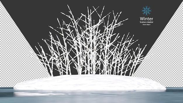 Sneeuw bedekt op een droge boomtak op een klein eiland omringd door een bevroren meer uitknippad