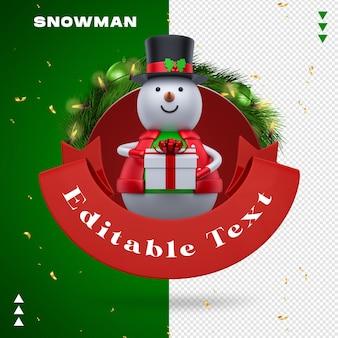 Sneeuwman garland in 3d-rendering