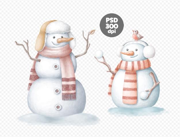 Sneeuwpop hand getekend digitale illustraties