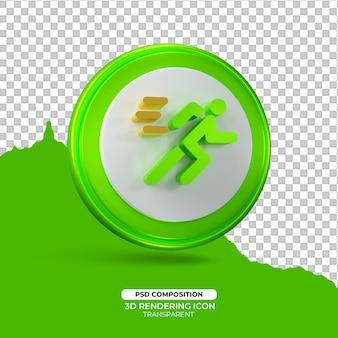 Snel rennen 3d render pictogram teken