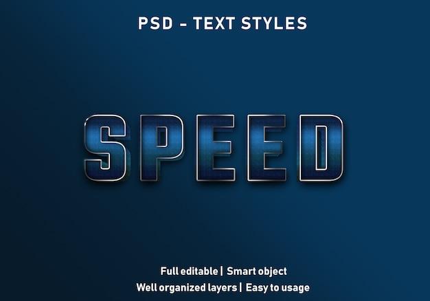 Snelheid teksteffecten stijl bewerkbare psd