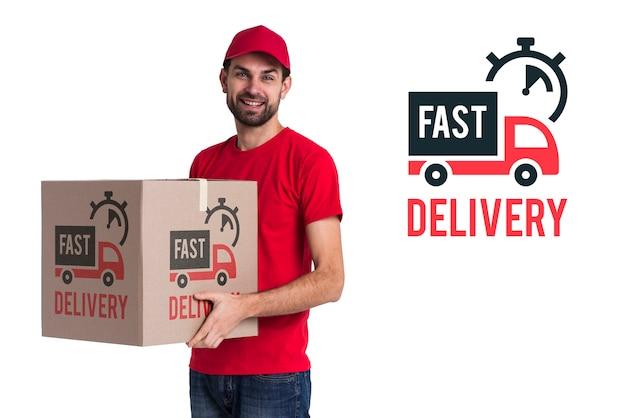 Snelle levering en man in rood kostuum