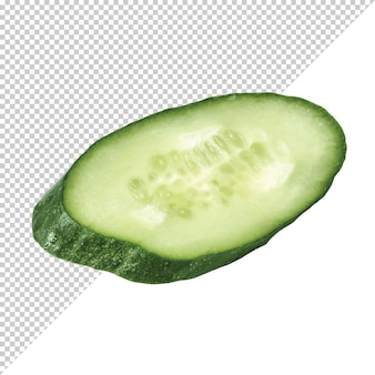 Snijd groene komkommer op een transparante achtergrond