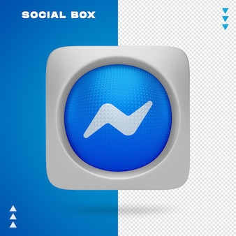 Sociaal pictogram in vak in 3d-rendering geïsoleerd