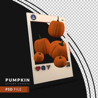 Sociaal postherfstconcept met 3d-pompoen en framesjabloon