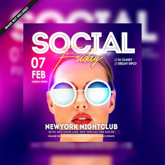 Social friday club night classy elegant party flyer