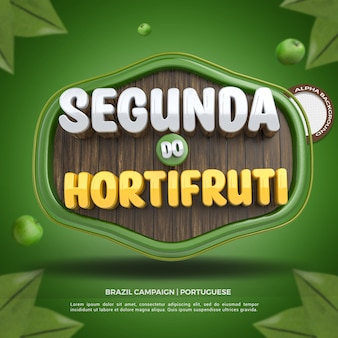 Social media 3d label maandag supermarkt samenstelling voor supermarkt campagne van brazilië