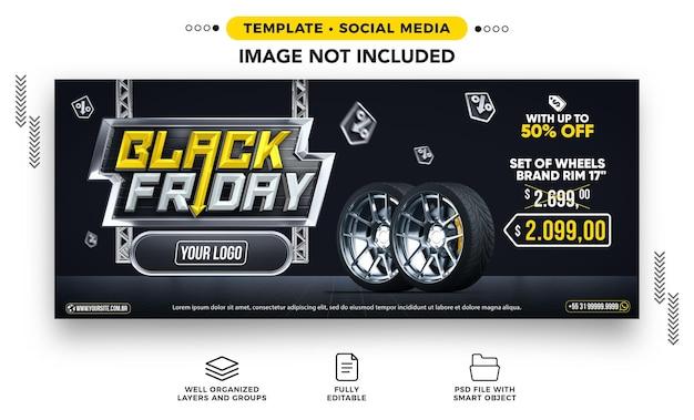 Social media banner black friday-verkoop van autowielen in de aanbieding