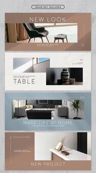 Social media banner minimale meubels thema