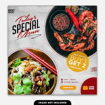 Social media banner post food special menu