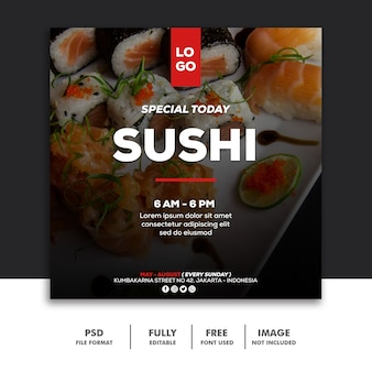 Social media banner post template voedsel speciale sushi